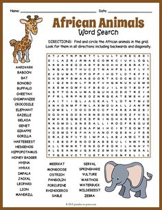 Free Printable African Animals Word Search