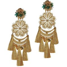Mercedes Salazar Fiesta Chandelier Earrings: Gold ($198) ❤ liked on Polyvore featuring jewelry, earrings, gold, long tassel earrings, yellow gold earrings, yellow gold chandelier earrings, gold tone jewelry and gold filigree earrings