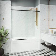 "SUNNY 59"" W x 62"" H Semi-Frameless Shower Door | Wayfair Tub Shower Doors, Bathtub Doors, Frameless Sliding Shower Doors, Bathtub Shower, Bathtub With Glass Door, Shower Panels, Gold Shower, Black Shower, Contemporary Bathtubs"