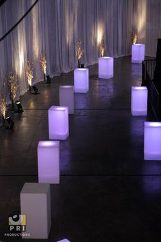 LED cubes aisle from the Adecco Town Hall Meeting that happened in Town Hall Meeting, Event Lighting, Christmas Time, Table Decorations, Cubes, Management, Led, Dinner, Home Decor