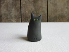 Spooky. Miniature Ceramic Black Cat Figurine. Pottery Black Cat Figurines, Handmade Ceramic Cat Sculpture, Black Cat Lover Gift, Black Cats Cat Lover Gifts, Cat Lovers, Pottery Animals, Handmade Ceramic, Black Cats, Trust Yourself, Green Eyes, Miniatures, Kitty