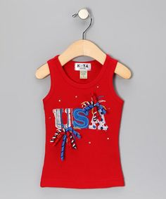 Take a look at this Red 'USA' Olympic Spirit Tank - Infant, Toddler & Girls by Cutie Pa Tutus & Kota Couture on #zulily today!