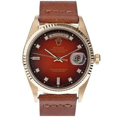 ROLEX All-Factory Red Vignette Diamond Dial Yellow Gold Day-Date    1980's