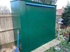 Sams Trojan Plus Combined bike and garden shed! #metalshed #secureshed #secure #bikers Garden Bike Storage, Tall Cabinet Storage, Locker Storage, Metal Shed, Bike Shed, Sams, Double Doors, Bikers, Storage Solutions