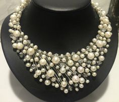 Natura fresh water pearl and crystal necklace real pearl party  dinner necklace fashion women jewelry hand make  free shippping