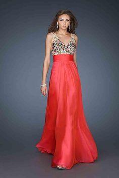 Long V-neck Dress By La Femme 18465 Hot Dresses Discount Price