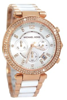 LOVE! Michael Kors MK5774 Parker Chrono White Glitz Rose Gold Steel Women Watch NEW in Jewelry & Watches | eBay