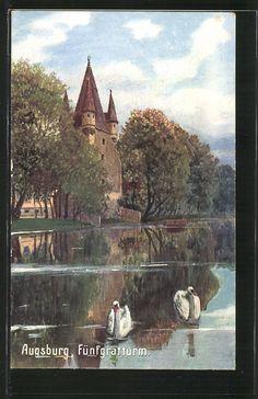 old postcard: AK Augsburg, Ansicht von Fünfgratturm