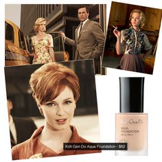 Mad Men head makeup artist Lana Horochowski uses Koh Gen Do Aqua Foundation on Elisabeth Moss, January Jones and Christina Hendricks.