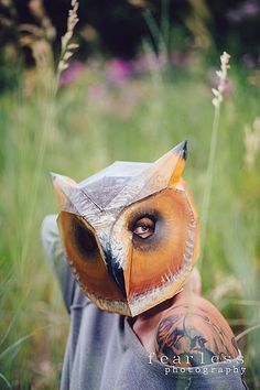 DIY Owl Mask - Wintercroft Animal Masks, Animal Heads, Haloween Mask, Low Poly, Fearless Photography, Owl Mask, Surviving In The Wild, Marionette, Head Mask