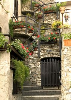 Spioral Staircase with Flowers, Limone, Lake Garda, Italy