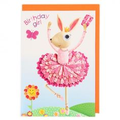 Birthday girl ballerina rabbit card