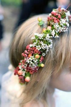 {Prettiness! Fresh Floral Halo Of: Pink & White Waxflower, White Lilac, Pink Snowberry, & Green Foliage For The Flower Girl···········································}
