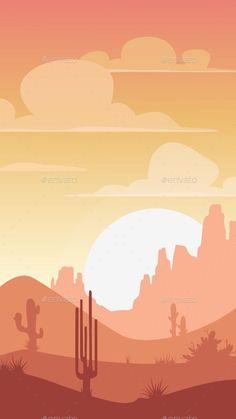 Cartoon Desert Landscape by Lilu330 Cartoon desert landscape, sunset silhouette illustration, vertical format for mobile phone screen