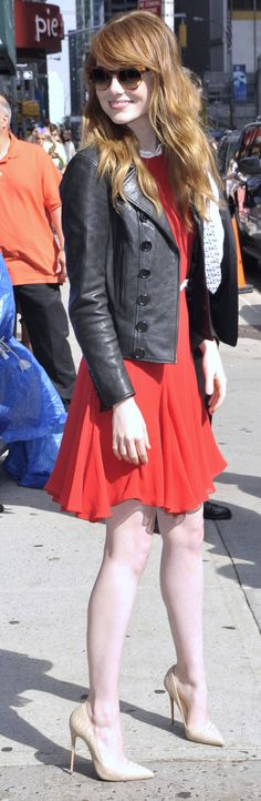 Emma Stone outside Late Show with David Letterman.