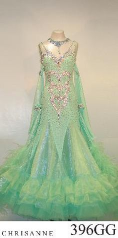Chrisanne mint green silver godet modern dress crystal bodice design layered