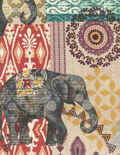 Suzani Elephant Caravan Fabric India Batik Collage Print Boho Patterned Elephants TT | $10.50 per yard panel