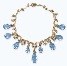 AN AQUAMARINE AND DIAMOND NECKLACE, BY JEAN SCHLUMBERGER Designed as nine pear-shaped aquamarines to the undulated gold necklace with circular-cut diamond and gold floral spacers, designed in 1955, made in 1972, 35.0 cm long, with French assay mark for gold, in fitted black suede Schlumberger case Signed Schlumberger