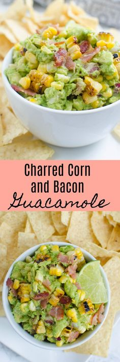 Charred Corn and Bacon Guacamole - a delicious and easy twist on the classic! A super simple guacamole recipe with grilled corn and bacon! Finger Food Appetizers, Easy Appetizer Recipes, Yummy Appetizers, Dinner Recipes, Guacamole Recipe Easy, Avocado Recipes, Healthy Recipes, Dip Recipes, Cream Recipes