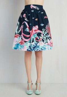 Style Study A-Line Skirt in Marine Bio. Incorporate your interest in aquatic education into your edgy fashion ingenuity by experimenting with styling this deep blue skirt - part of our ModCloth namesake label! #blue #modcloth