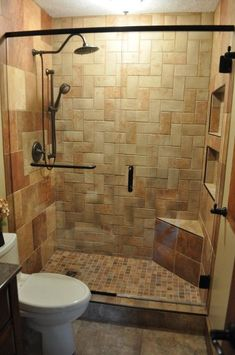 Small Master Bath Remodel-.-- in different colors, love the shelves