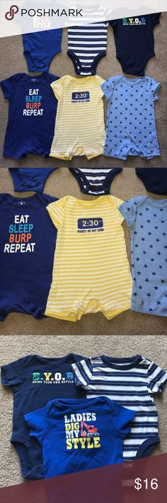6-12m Rompers and Onesies Bundle Bundle of cute summertime rompers & onesies. No rips/stains/weird stuff. All size 6-12 month from Old Navy. Three onesies and three rompers. Old Navy One Pieces