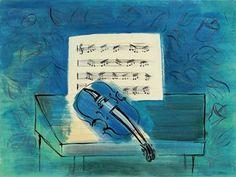 Le Violon Bleu, by Raoul Dufy, c. 1930, gouache, watercolor & ink on paper, 20 x 26.7 inches