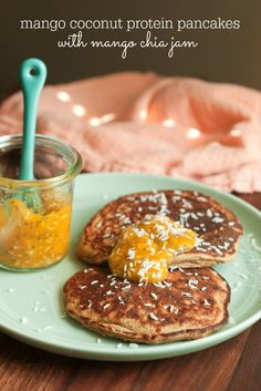 Mango Coconut Protein Pancakes with Mango Coconut Chia Jam - could ...