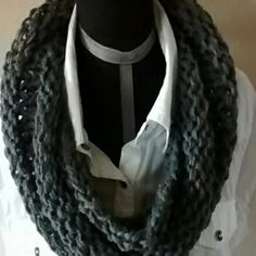 Gray infinity scarf NWOT Dark charcoal gray, new handmade handmade Accessories Scarves & Wraps