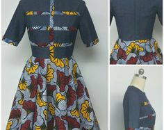 DENWAX Collection. African Print Denim PantDress. by NanayahStudio