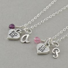 Sister Necklaces, Set of 2, Sterling Silver, Big Sis Lil Charm, little girls necklace, sisters present, personalized, adoption, ANDI & PIPPA