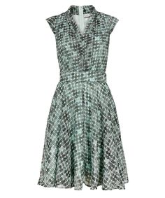 Geo Print Shawl Collar Dress in Mint / Black #rickis #spring2015