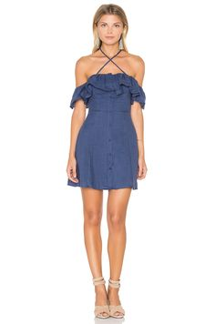 Line & Dot Ciel Ruffle Dress in Midnight Blue