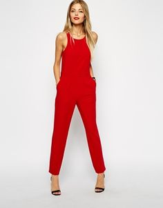 Find the best selection of ASOS Chic Racer Jumpsuit with Sheer Back. Shop today with free delivery and returns (Ts&Cs apply) with ASOS! Red Fashion, Fashion 2017, Fashion Outfits, Womens Fashion, Asos, Outfits In Rot, Mode Style, Playsuits, Outfits