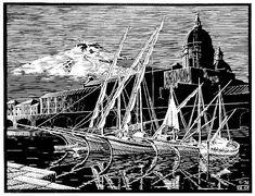M.C. Escher, 1936 Mc Escher, Escher Kunst, Escher Art, Mathematical Drawing, Exploration, Dutch Artists, Art Database, Wood Engraving, Linocut Prints