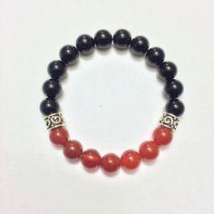 Energy Healing - Men's Genuine Sterling Silver Carnelian & Black Onyx Bracelet - Positive Energy