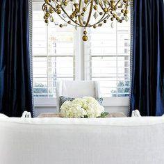 Navy Drapes, Transitional, dining room, Benjamin Moore Balboa Mist, Studio McGee