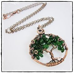 $30.00 Copper Tree of Life Necklace with Green Dark Aventurine Leaves by TTJJewelry on Etsy