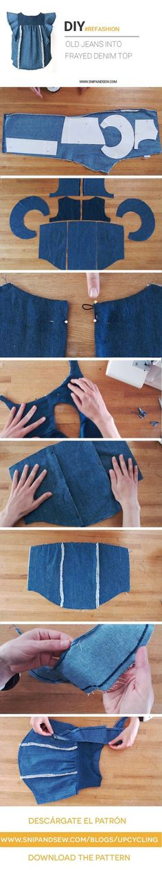 DIY/REFASHION- Upcycle an old pair of jeans into a Frayed Denim Top with Ruffles. FREE PATTERN (size 2-7)
