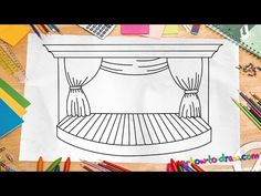 How to draw a Stage - Easy step-by-step drawing lessons for kids Art Videos For Kids, Drawing Lessons For Kids, Drawing Tutorials For Kids, Pencil Drawing Tutorials, Drawing Skills, Art For Kids, Teaching Cursive Writing, Kids Stage, Stage Set