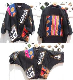 1980s printed jacket / oversized colorful 80s VINTAGE batwing sleeve JACKET / AFRICAN art tribal jacket / Abstract tribal jacket. $32.00, via Etsy.