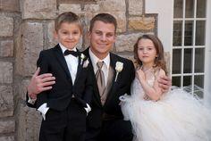 Wedding Day, ring bearer, flower girl and groom.