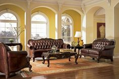 Antique Style Traditional Wing Back Formal Living Room Furniture Set ...