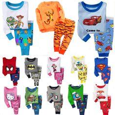 Wholesale Product Snapshot Product name is New Boys Girls Long Sleeve Pyjamas Baby Toddler Kids Sleepwear pjs Superman Dora Spider man Batma...