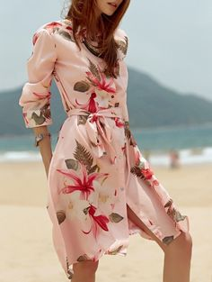 SHARE & Get it FREE | Shirt Collar Tropical Print Belted DressFor Fashion Lovers only:80,000+ Items • New Arrivals Daily Join Zaful: Get YOUR $50 NOW!