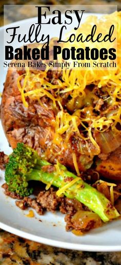 Cajun Delicacies Is A Lot More Than Just Yet Another Food Easy Fully Loaded Baked Potatoes Are Perfect For Dinner From Serena Bakes Simply From Scratch. Curry Recipes, Beef Recipes, Cooking Recipes, Potato Recipes, Family Recipes, Easy Healthy Recipes, Quick Easy Meals, Easy Dinner Recipes, Bon Appetit