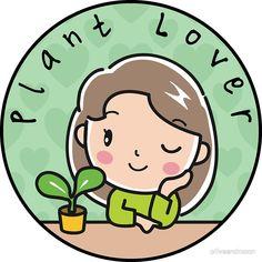 'Plant Lover Cute Navy Simple Round Design' Sticker by oliveandmoon Plant Illustration, Cute Illustration, Plants Quotes, Plants Are Friends, Plant Science, House Plants Decor, Plant Art, Cactus Y Suculentas, Round Design