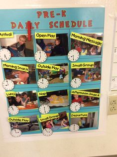 This pictorial schedule helps the Pre-K children at Sunshine House 03 in Loveland, CO learn about time and follow the routine of their exciting day.