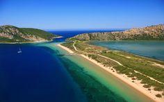 Golden Coast, Messenia, southwestern Peloponnese, Greece ✯ ωнιмѕу ѕαη∂у Most Beautiful Beaches, Beautiful Places, Santorini, Greece Resorts, Greece Beaches, City Resort, Golden Coast, Paradise On Earth, Dubrovnik