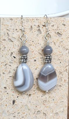 Gray and White Botswana Agate and Sterling Silver Dangle